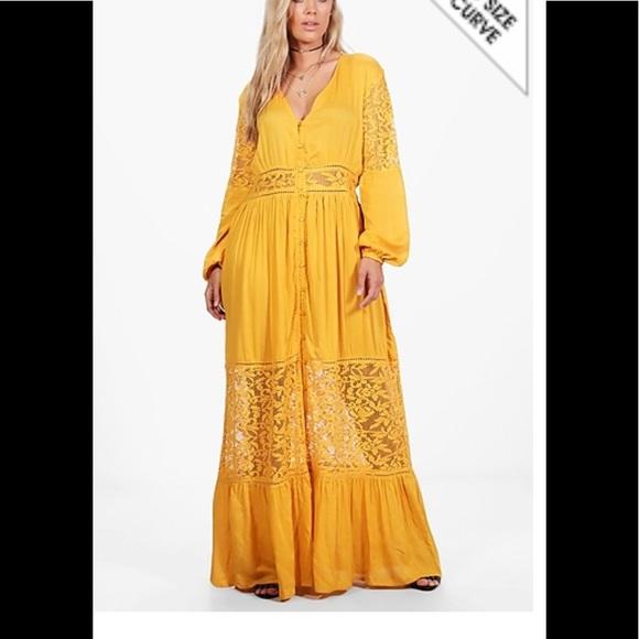31d30ed23c5 Boohoo long sleeve lace maxi dress